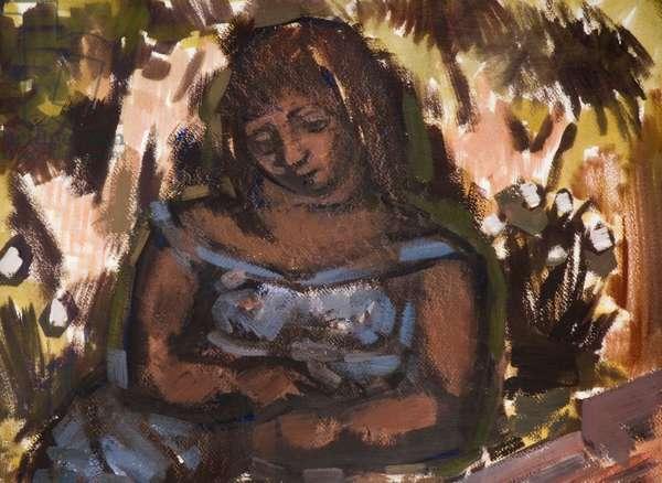 A Girl With Grasses, 1936-46 (oil on paper)