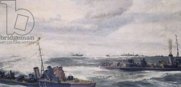 A Destroyer Escort in Attack, 1941 (oil on canvas)