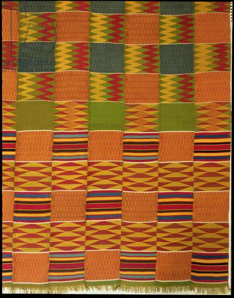 Detail of a length of Kente cloth, Ashanti People, early 20th century (silk and cotton)