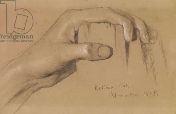 Study of a left hand grasping a post, 1858 (black & white chalk on grey-brown paper)