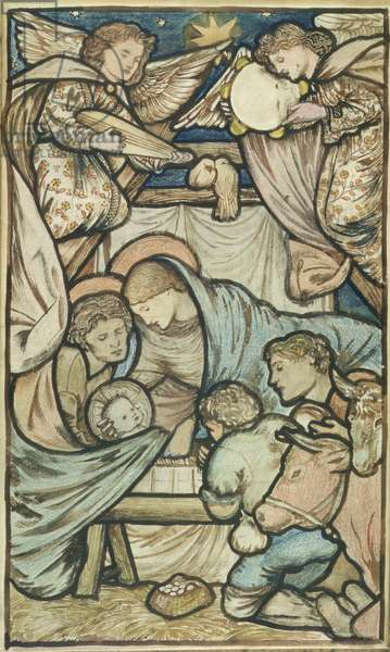The Nativity (sepia and coloured chalk on paper)