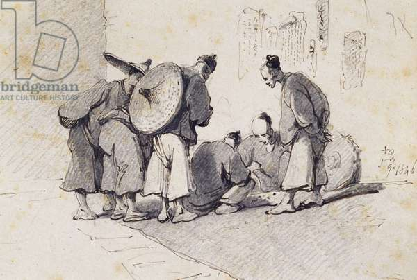 Group of Six Men (detail) 1846 (pen & pencil on paper)