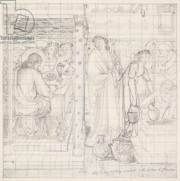 The Marriage Feast at Cana, design for a tile panel, c.1866 (pencil on paper)
