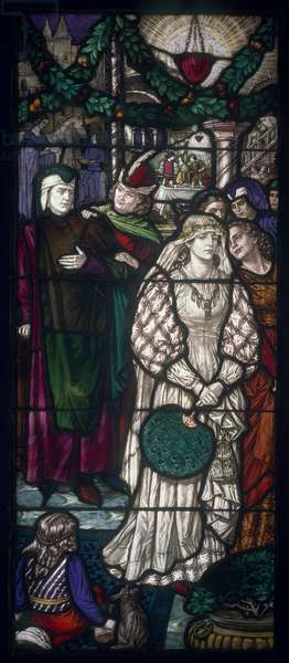 Dante and Beatrice, c.1911 (stained glass)