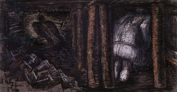 At the Coal Face, 1941-42 (pen and ink, chalk, wax crayon, pencil and scraping on grey-brown paper laid on paper)