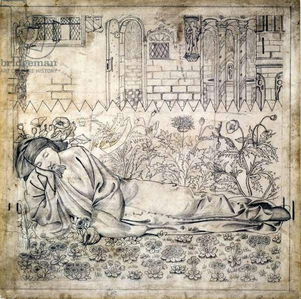 Chaucer, design for stained glass and embroidery, 1864 (pencil on paper)