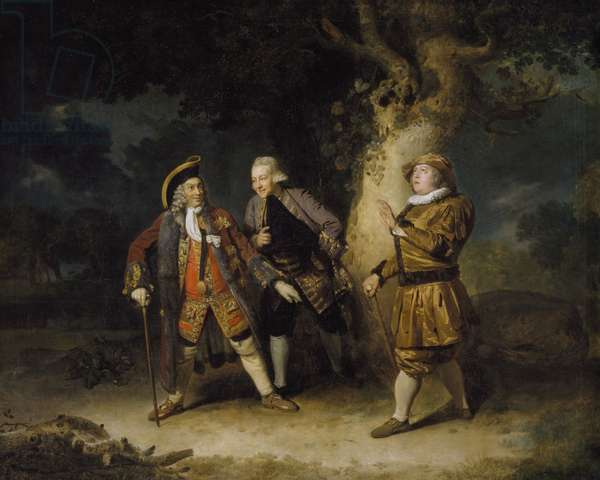 David Garrick (1717-79) as Lord Chalkstone, Ellis Ackman as Bowman and Astley Bransby as Aesop in 'Lethe' (oil on canvas)