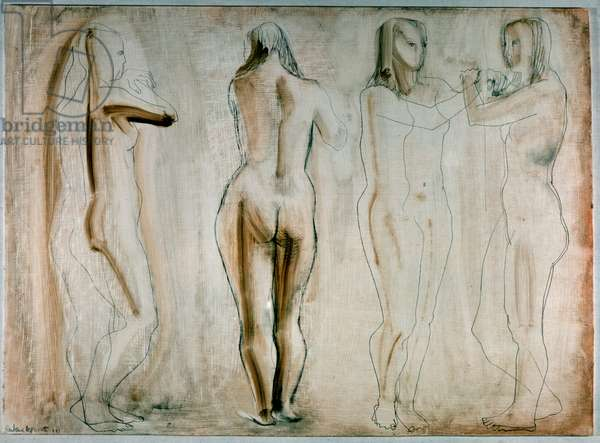 Four Figures - Sepia, 1951 (pencil, sepia and gouache on gessoed board)
