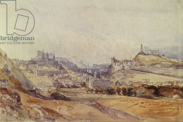 Edinburgh from Salisbury Crags, 1843 (pencil & w/c on paper)