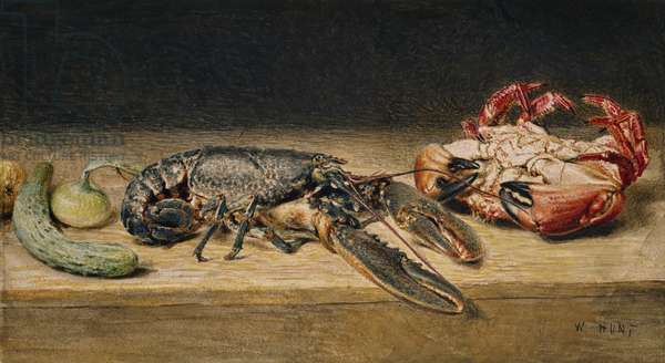 Lobster, Crab and Cucumber, c.1827 (w/c on paper)