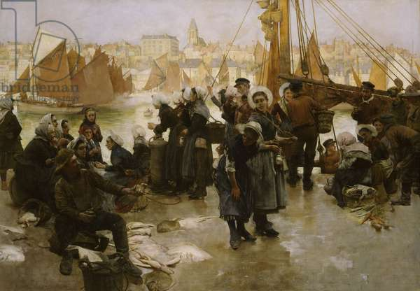 Departure of the Fishing Fleet, Boulogne, 1891 (oil on canvas)