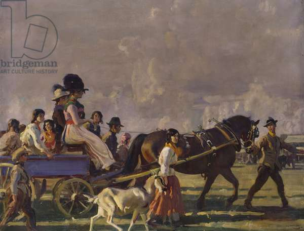 Arrival at Epsom Downs for Derby Week (oil on canvas)