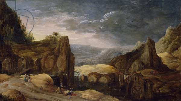 Extensive Landscape with Minerva Expelling Mars to Protect Peace and Plenty (oil on panel)