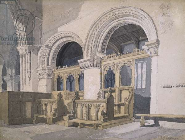 Interior of Walsoken Church, Norfolk, c.1811 (pencil & w/c on paper)