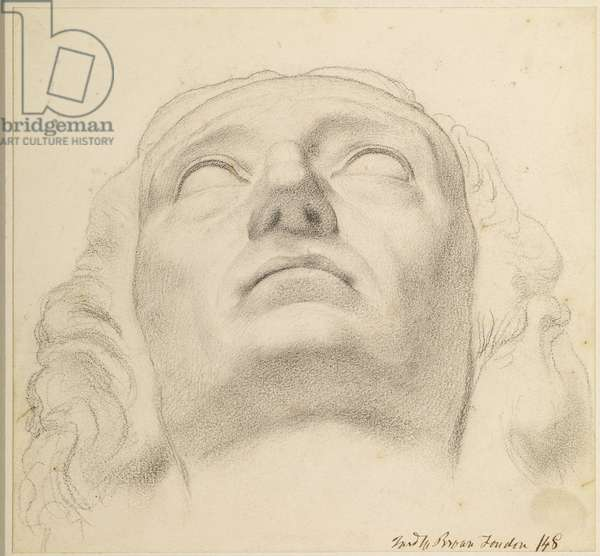 Study of the Head of Milton (1608-74) 1848 (chalk on paper)