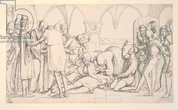 Study for 'Romeo and Juliet, The Last Scene', 1848 (pencil on paper)