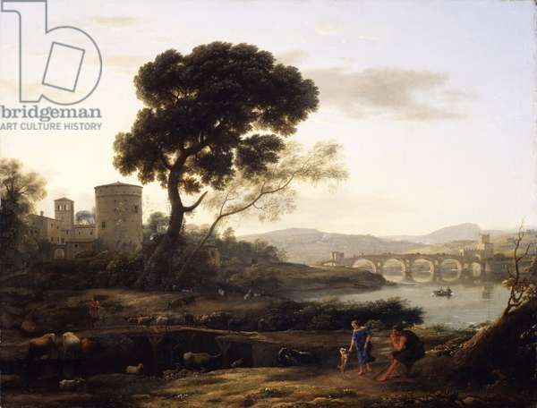 Landscape near Rome with a view of the Ponte Molle, 1645 (oil on canvas)