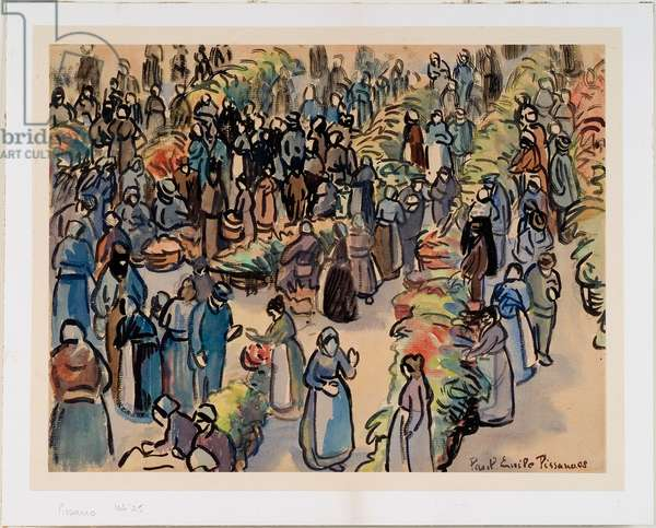 The Market Place, 1908 (w/c over pencil on cream paper)