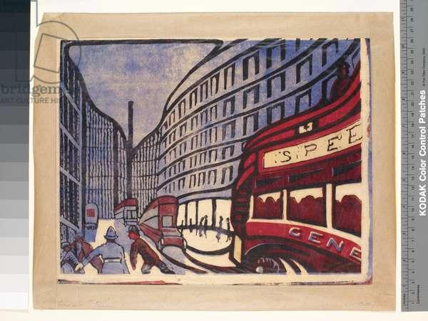 Speed, 1881-1933 (lino cut)