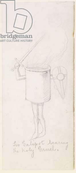 Sir Galipot bearing the holy Gruel, c.1855-59 (pencil on paper)