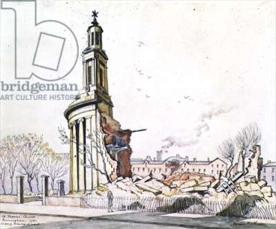 St. Thomas's Church, Birmingham, After Enemy Bombardment (ink, w/c over pencil on paper)
