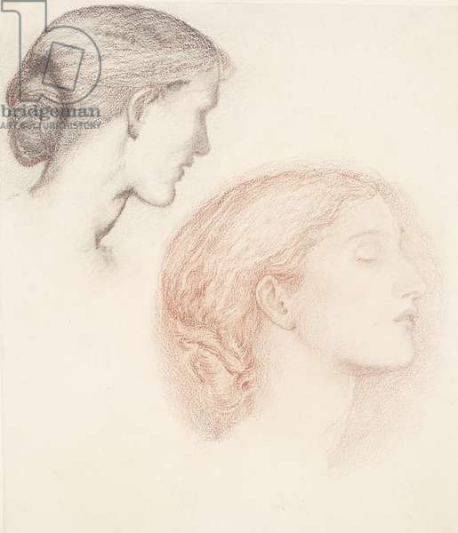 Two Female Heads (chalk on paper)
