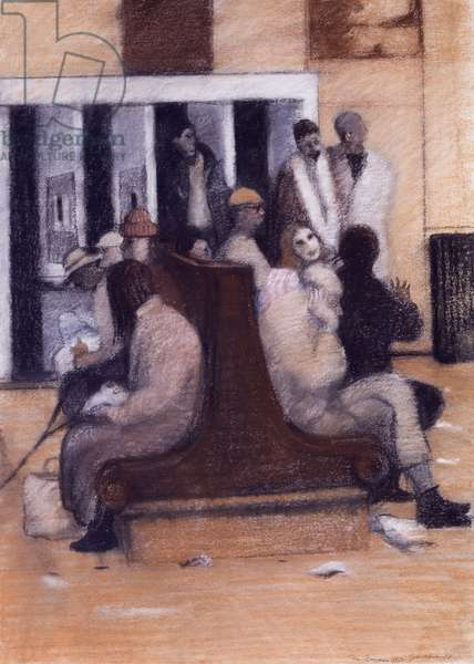 On the Benches, 1988 (pastel on paper)