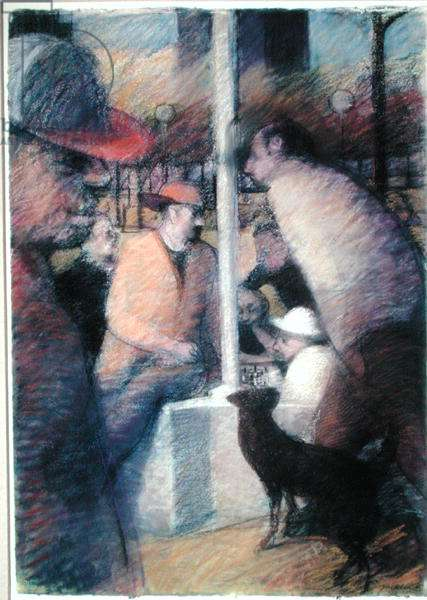 The Chess Players II, 1986 (pastel on paper)
