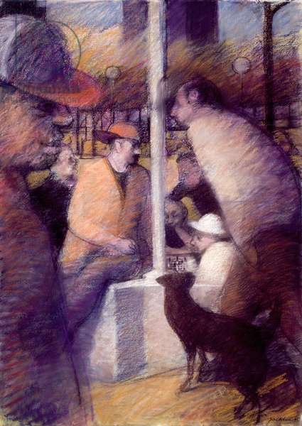 The Chess Players II, 1986 (pastel)