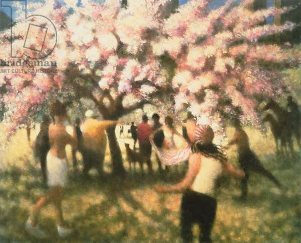 Cherry Tree with Dog, Great Lawn, 2000 (oil on canvas)