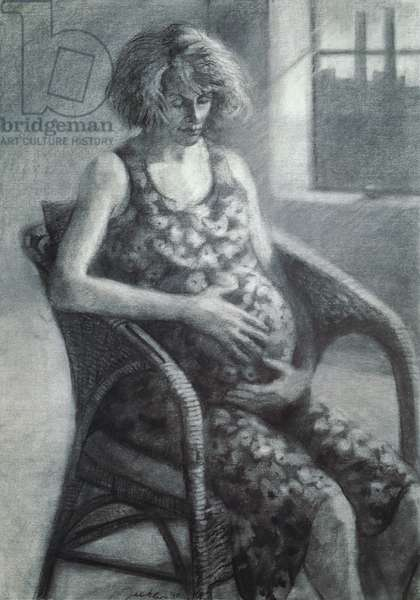 Mother and Child, Trudie Styler, 1990 (charcoal on paper)