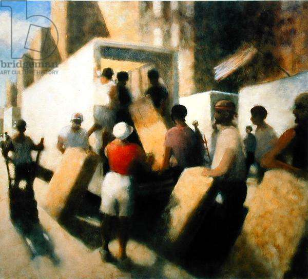 Unloading the Truck, W. 36th St. III, 1997 (oil on canvas)