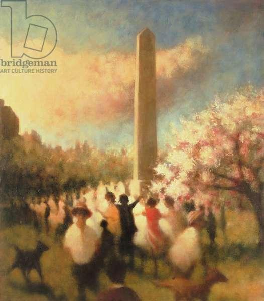 Under the Obelisk I, Central Park, 2001 (oil on canvas)