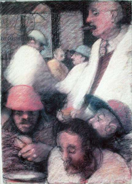Howley's Bar and Grill, 1986 (pastel on paper)