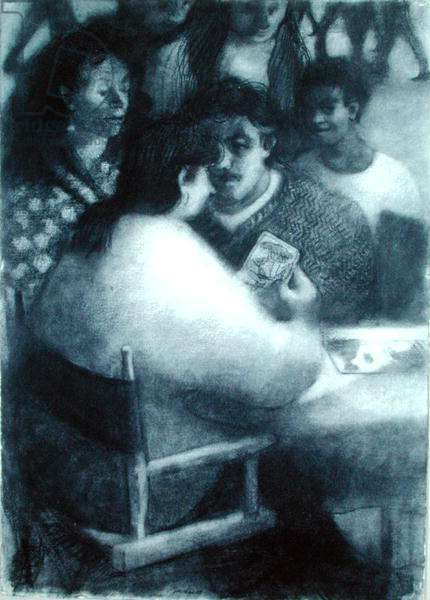 The Palmist II, 1989 (charcoal on paper)