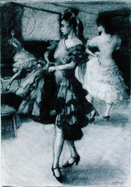 The Dance Studio, 1988 (charcoal on paper)