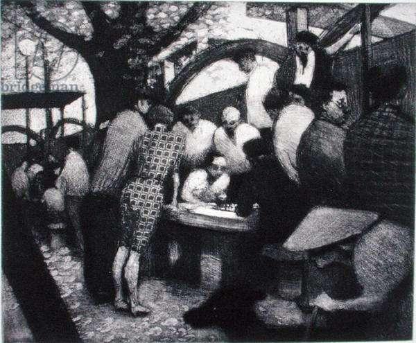Hong Kong Suite, Chinese Chess, Hong Kong, 1994 (etching on buff hand-made paper)