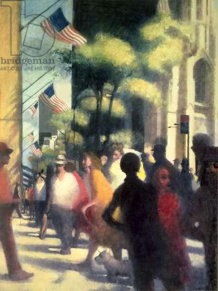 The Promenade, Fifth Avenue, 1986 (oil on canvas)
