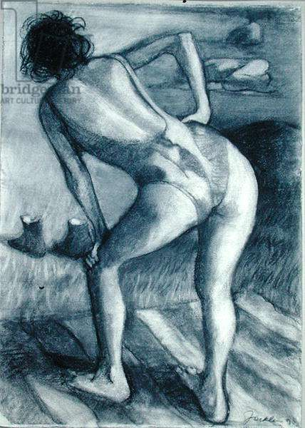 Study for Sheep Meadow I, Girl Bending, 1990 (charcoal on paper)
