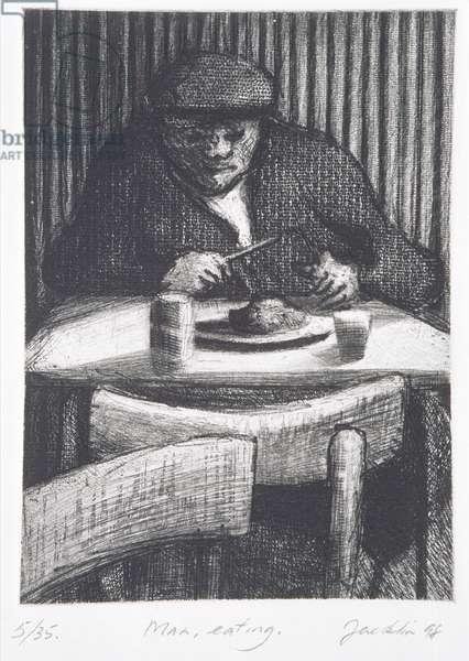 Man Eating, 1998 (etching)