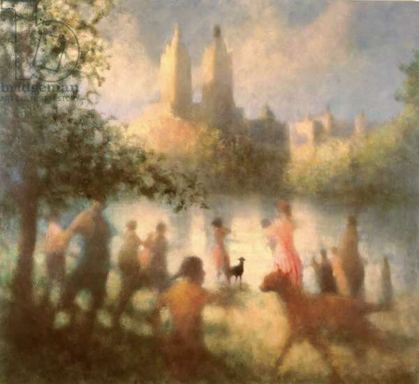 Down by the Water, Central Park, 2001 (oil on canvas)