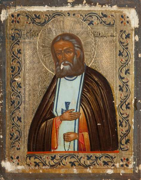 Saint Serafim of Sarov (tempera on panel)