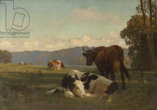 Cattle on Riverbank in Auvergne (oil on canvas)