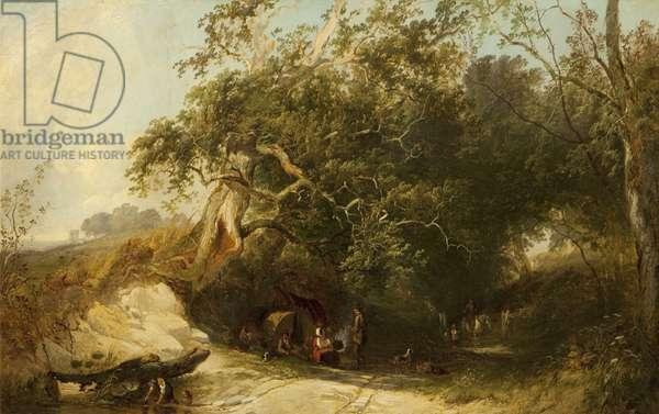 Gipsy Encampment (oil on canvas)