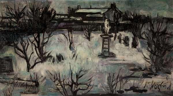 Lancashire Snow Scene, 1961 (oil on board)