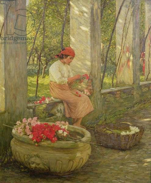 A Ligurian Flower Girl (oil on canvas)