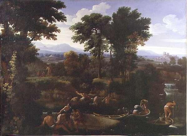 Riverside scene (oil on canvas)