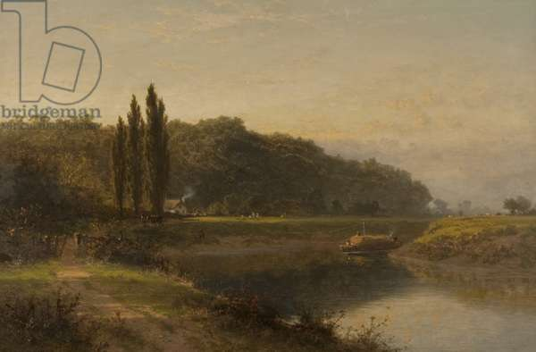 On the Severn below Worcester, 1889 (oil on canvas)