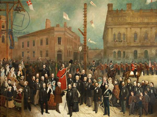 Laying the Foundation Stone to the Cotton Exchange, Blackburn, c.1863 (oil on canvas)