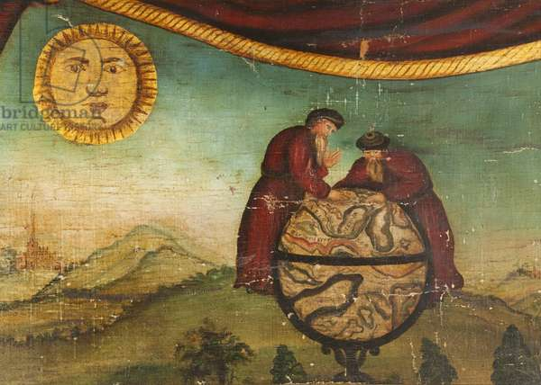 Two Men with Globe (oil on canvas)